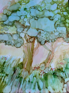 """Green Trees - Alcohol ink on Yupo paper, 9""""x 12"""""""