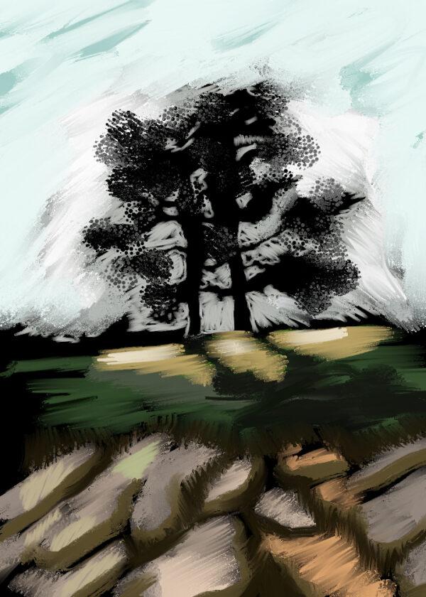 "Wedding Oaks 10""x 14"" - Digital Painting"